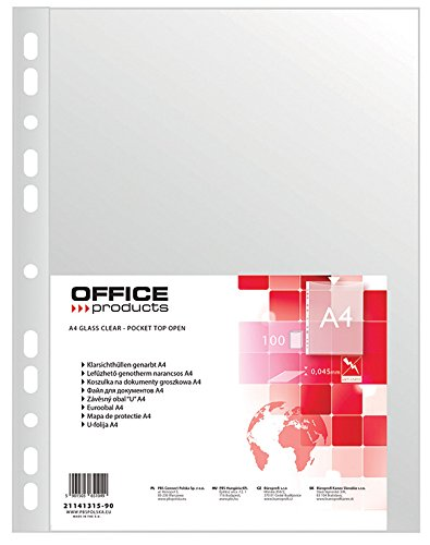 office-products-21141315-90-klarsichthullen-pp-a4-genarbt-45-um-100-stuck-transparent