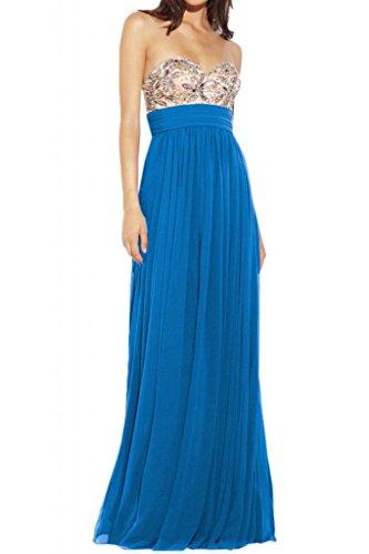 Toscane mariée élégante forme de coeur cristal chiffon abendkleider prom ferme party ballkleider long Bleu - Bleu