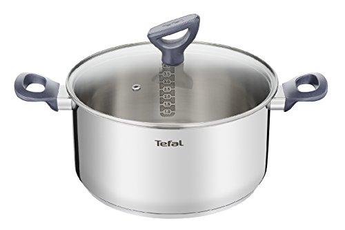 Tefal Daily Cook - Cacerola acero inoxidable con Tapa de 20 cm, 3 Litros, base reforzada, aptas para todo tipo de cocinas incluido inducción, gran conductividad y resistencia con materiales reciclados