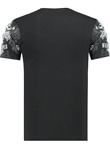 Black Rock Herren Kurzarm T-Shirt/Slim-Fit Rundhals/Totenkopf Adler Motiv/Hochwertige Baumwollmischung 3 - Schwarz