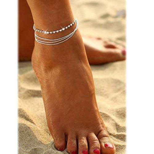 Chandler Perlenkette Fußkettchen am Bein Fußarmband Frauen schlicht verstellbar Draht Knöchel Sommer Strand Schmuck