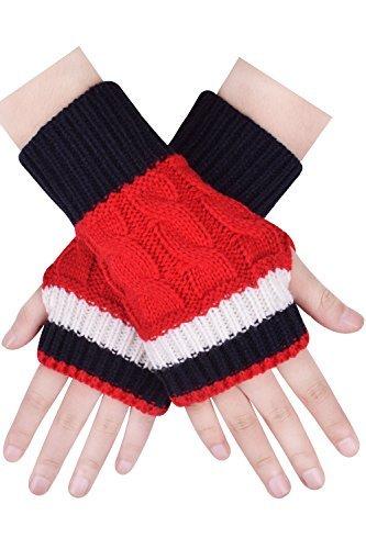 CEAJOO Red Fingerless Gloves Hand Knit Mittens Ladies Fingerless Driving Gloves Red