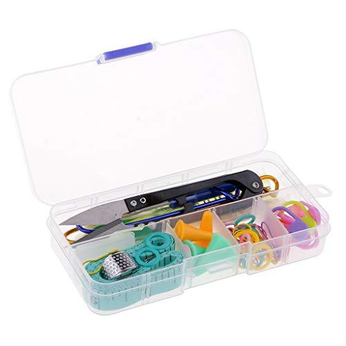 F Fityle 57 Stk. Basic Strickzubehör utensilien Set Kit Strickwerkzeuge Zubehör mit Klare Fall -