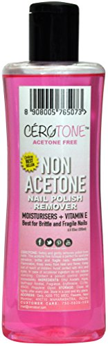 "CERO CEROTONE ""NON ACETONE"" Nail Polish Remover (ACETONE FREE best for Fragile / Brittle Nails) Moisturisers + Vitamin E (200ml)"