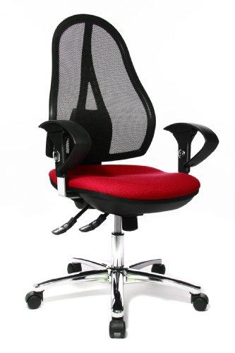 Topstar Open Point SY Deluxe, ergonomischer Syncro-Bandscheiben-Drehstuhl, Bürostuhl, Schreibtischstuhl, inkl. Armlehnen (höhenverstellbar), Stoff, rot