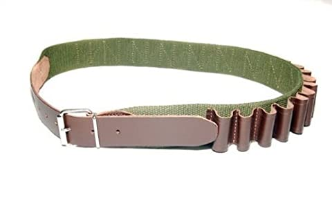 Bisley Canvas 25 Shotgun Cartridge Belt - leather loops 12