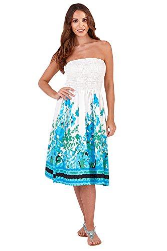 Pistachio, Damen, Floral, 3in 1,Baumwolle, Sommer-Kleid, lila Gr. M (38-40), White/Blue Poppy (Baumwolle Neckholder Kleid Floral)