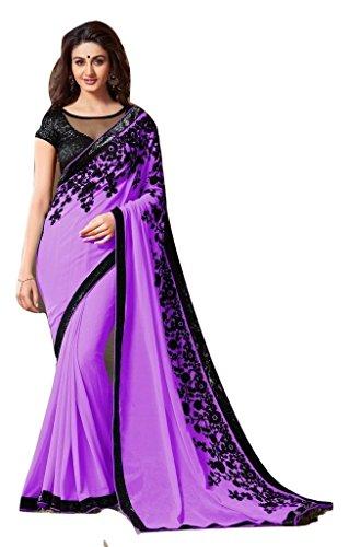 Jay Sarees Faux Georgette Saree With Blouse Piece (Jcsari2910-1807E_Purpul_Free Size)