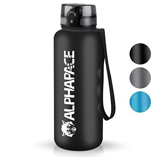 ALPHAPACE Trinkflasche - 650ml/1000ml/1500ml - BPA-frei - Wasserflasche auslaufsicher - Mit 1 klick öffnen - Schule, Sport, Fahrrad, Kinder … (Schwarz, 1500ml)