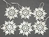 Pack of 12 White Gliitery Snowflake Christmas Tree Trims