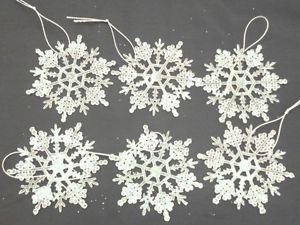 Christmas Decorations Pack of 12 White Gliitery Snowflake Christmas Tree Trims