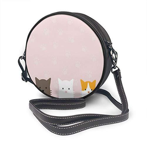 fhjhfgjghfjghfj Women Round Crossbody Bag Umhängetasche, Cute Flat Pastel Cat Mouse Pad Cat Paw Handbag Purse Single Shoulder Bag PU Leather Chain Strap Handle Tote -