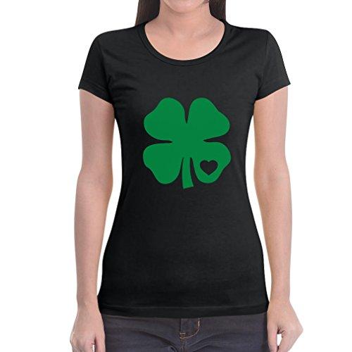 Grünes Herz Kleeblatt St. Patrick's Day Irland Frauen T-Shirt Slim Fit Medium Schwarz