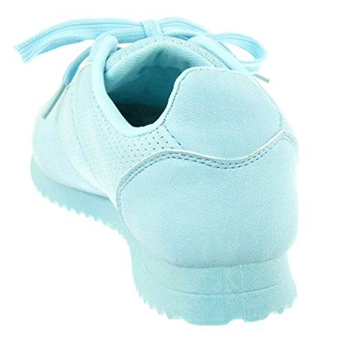 Angkorly Scarpe Moda Sneaker Tennis donna perforato Tacco tacco piatto 2 CM Blu