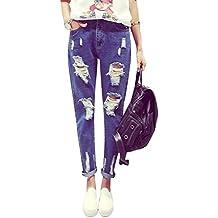 Pantalones Anchos Jeans Mujer Tejanos Boyfriend Harlan Pantalones Rotos Vaqueros Cintura Alta Azul XL