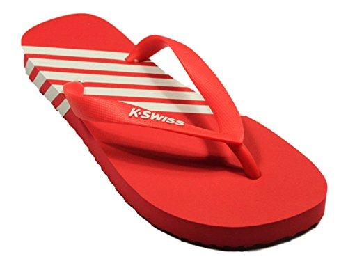 Uomo K-Swiss K-Flop Estivo Infradito A righe Scarpa Spiaggia Slip On Sandalo Infradito - Uomo, Rosso, UK 6/7 - EU 40/41 - US 7/8