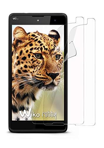 moex 2X Wiko Robby | Schutzfolie Klar Bildschirm Schutz [Crystal-Clear] Screen Protector Display Handy-Folie Dünn Bildschirmschutz-Folie für Wiko Robby Bildschirmfolie