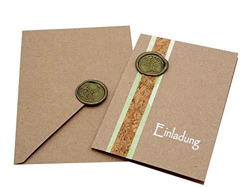 ZauberDeko Karte Einladung Einladungskarte mit Umschlag Kommunion Konfirmation Kraftpapier Grün Wachs Siegel Baum des Lebens Elias
