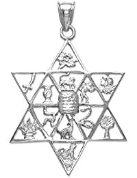 """Little Treasures - 10 ct - White Gold Star of David with Twelve Tribes of Israel Pendant Necklace (Comes with an 18"""" Chain)"""