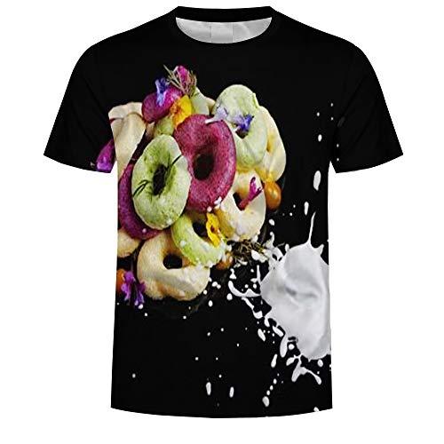 Jonyn Kurzarm T-Shirt Junge Mädchen Casual Top 3D Graphic Baumwolle/Polyester Schnell Trocknend Großformat Dessert Grafik S