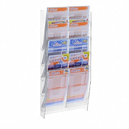 Espositore porta schedine e gratta e vinci da parete in plexiglass trasparente a 10 tasche