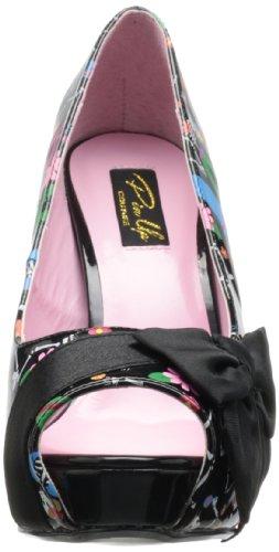 Pinup Couture, Scarpe con tacco donna Blk Pat-Blk Satin (Muertos Print)