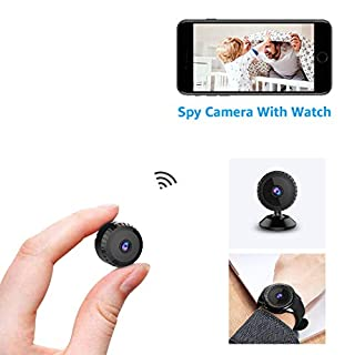 Mini Spy CameraWiFi Hidden Camera With Watch AOBO Wireless HD 1080P Indoor Home Small Spy Cam Security Cameras/Nanny Cam with Motion Detection/Night Vision For iPhone/Android Phone/ iPad/PC