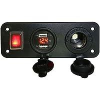 Graceme DC 12 V 24 V coche camión barco UTV Dual USB 3.1 A cargador de