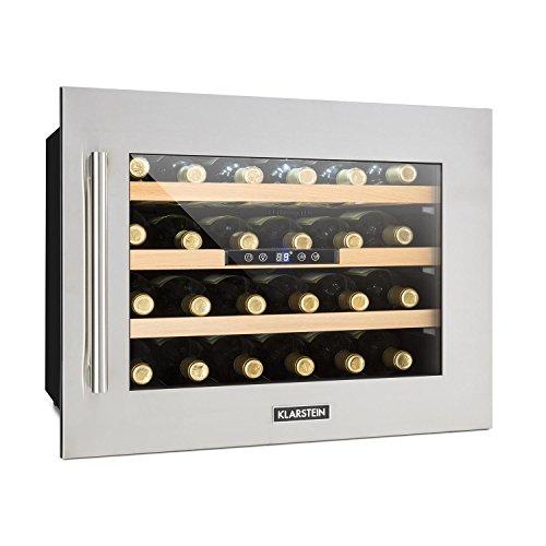 Klarstein Vinsider 24D • Weinkühlschrank • Getränkekühlschrank • Mini-Kühlschrank • 3 Holzeinschübe • Temperatur einstellbar • 1 Kühlzone • LED-Innenbeleuchtung • 24 Flaschen • Edelstahl • silber