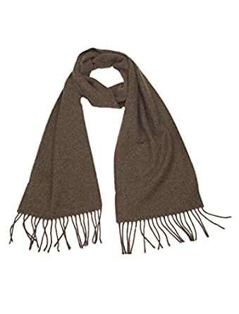 Men's and Women's Wool Scarf Brown - Lovarzi Solid Plain Lambswool Winter Scarves - Perfect Gift for Men and Women - Men and Ladies Scarfs