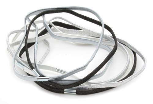 8 Childrens Thin Elastic Lurex Mix Head Bands in White, Silver & Black by Zest by Zest