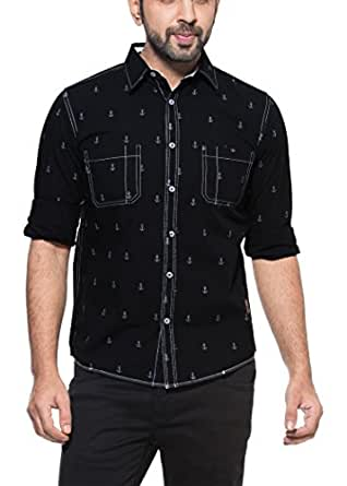 Zovi Cotton Regular Fit Casual Black Anchor Print Shirt With White Stitch Det 1095070070146