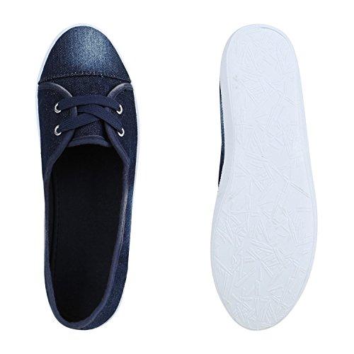 Sportliche Damen Halbschuhe Sneakers Schnürer Schuhe Dunkelblau Denim