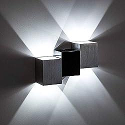 Lightess Applique Murale LED 6W Intérieur Lampe Murale Moderne Carré Up Down en Aluminium Eclairage Décoration Lumière pour Chambre a Coucher Bureau Lit Couloir Salon Hôtel Bar Blanc Froid
