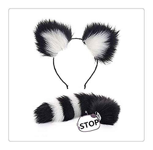 Z-one 1 süße Katze Riesen Panda Ohren Stirnband Fuchs Schwanz Plugs Plüsch Spielzeug Cosplay Kostüm für Damen und Herren (Schwarz und Weiß)
