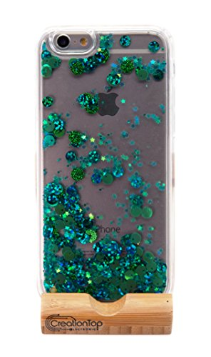 Christmas Gifts creationtop iPhone 6 6S Fall, TPU Bumper, Kratzfest, Harte Rückseite mit Liquid Treibsand Bling Liebenswürdig, Floating beweglichen Glanz infundiert, Green Giltter Iphone6/6s (Iphone6 Bling Fällen)