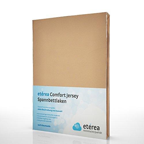 etérea Comfort Jersey Spannbettlaken - in viele Farben und alle Größen - 100% Baumwolle, Sand 140x200 - 160x200 cm