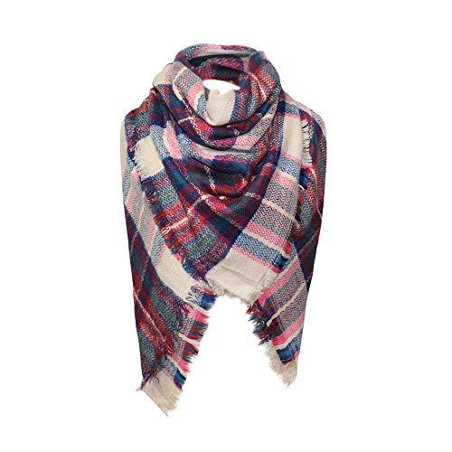 foulards, Tefamore Femmes châle en cachemire automne écharpe en laine à carreaux écharpe (175cm+, B)