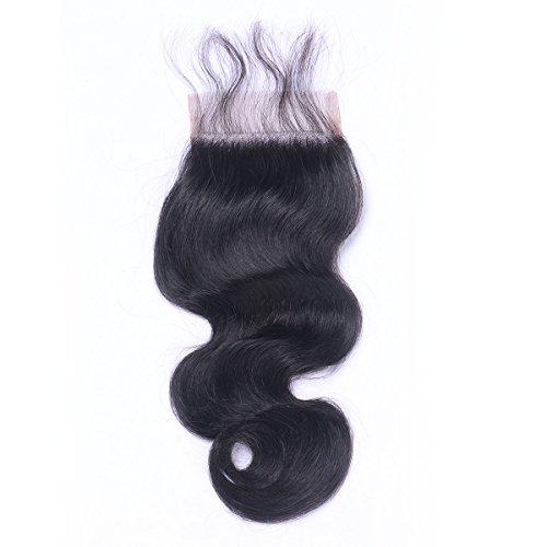 """[Amazing descuento para nueva tienda] libre parte natural negro 100% pelo humano Virgen Swiss encaje cierre superior blanqueado nudos 4""""x4"""" cuerpo Wave (8"""")"""