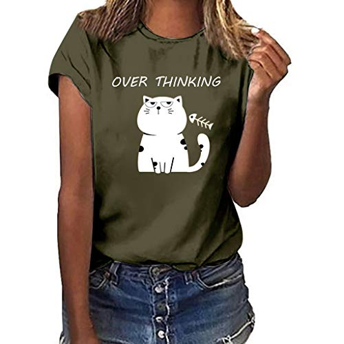 UYSDF Frau Übergröße Katzenabdruck Kurzarm T-Shirt Beiläufig O-Ausschnitt Bluse Tops 2019
