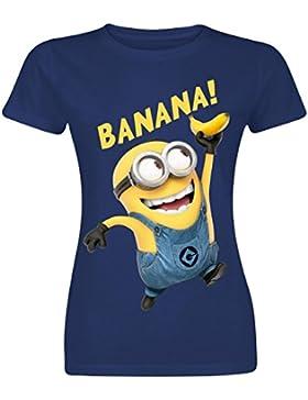 Minions Banana Camiseta Mujer Azul marino