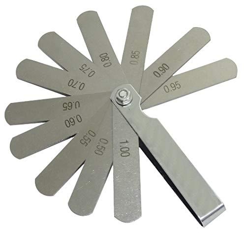 Aerzetix C41156 - Calibro di Spessore 11 Lame 0,50-1,00 mm