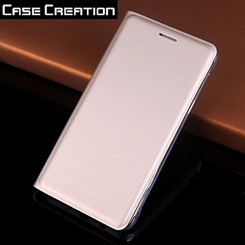 Case Creation Leather Flip Cover for Yu Yureka S 4G YU5200, Professional Back P.U Smart Flip Case for YU Yureka S 4G YU5200 - Gold