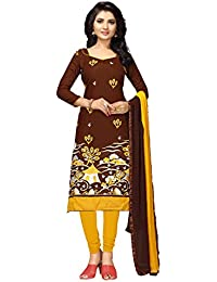 Women'S Brown Semi Stitched Embroidered Cotton Blend Dress Material WCANK30001