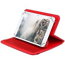 """OME® Funda ZigZag para tablet Universal de 9"""" pulgadas con soporte giratorio (Rojo)"""