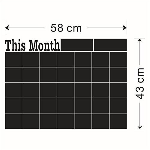 Große Tafel Aufkleber Dry Erase Monatsplaner Kalender Tafel für Home Office Küche Kühlschrank 43,2x 61cm (Dry Erase-kalender Aufkleber)