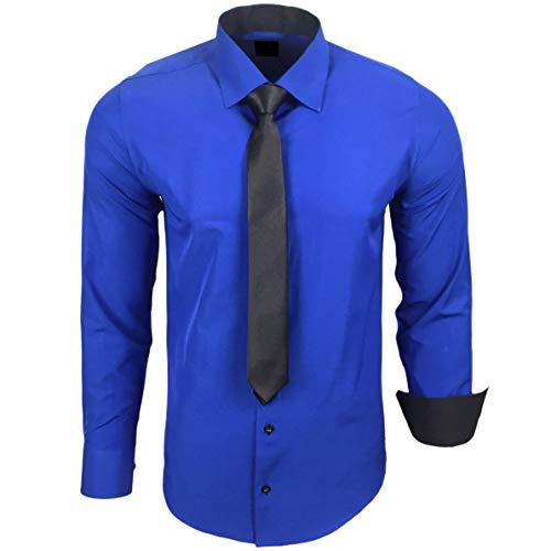 Rusty Neal 44-KR Herren Kontrast Hemd Business Hemden mit Krawatte Hochzeit Freizeit Fit, Größe:XL, Farbe:Sax