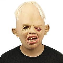 Idea Regalo - Cusfull novità in lattice Horror raccapricciante testa maschera viso spaventoso per Halloween festa in Costume