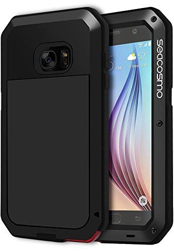 seacosmo Galaxy S6 Hülle, [Tough Armor] Aluminium Doppelte Schutz Stoßfest Ganzkörper Schutzhülle mit eingebauter Displayschutz für Samsung Galaxy S6, Schwarz