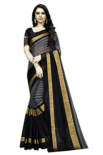 KSH Trendz Cotton Blend Art Silk Saree With Blouse Ideal For Women & Girls (25 DESIGNS AND PRINTS) (Black)